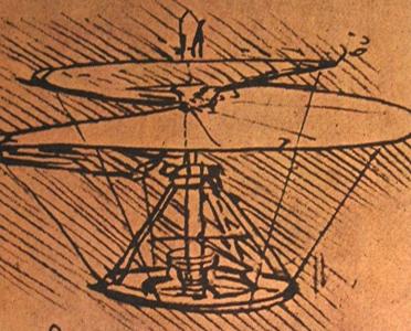 Leonardo's sketch of a helicopter flying machine