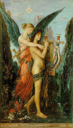 Painting: Hesiod and the Muse by Gustave Moreau