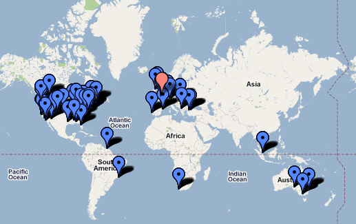 Map showing Twitter contacts scattered across the globe