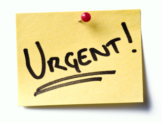 Post-it note with the word URGENT written on it