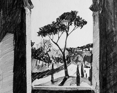 Pencil drawing of Rome